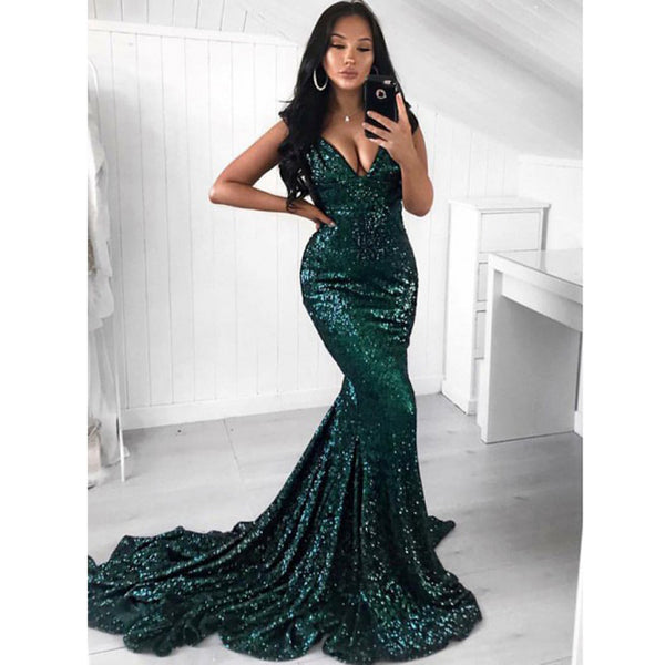 2fdc63194f4a Green Sequin Mermaid Simple Cheap Long Prom Dresses, BGP206 - Bubble Gown