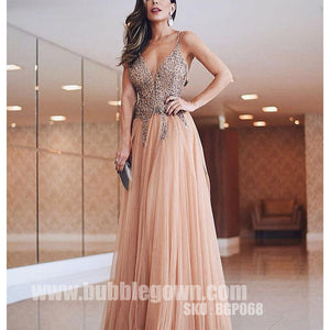 Spaghetti Strap Beaded Top Tulle Formal Long Evening Prom Dress, BGP068