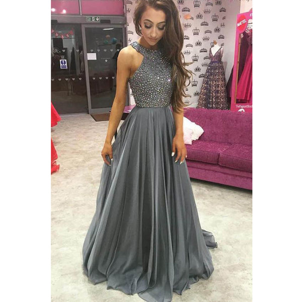 Popular Elegant Gray Beaded Top Chiffon Formal Cheap Prom Dresses, BG51036
