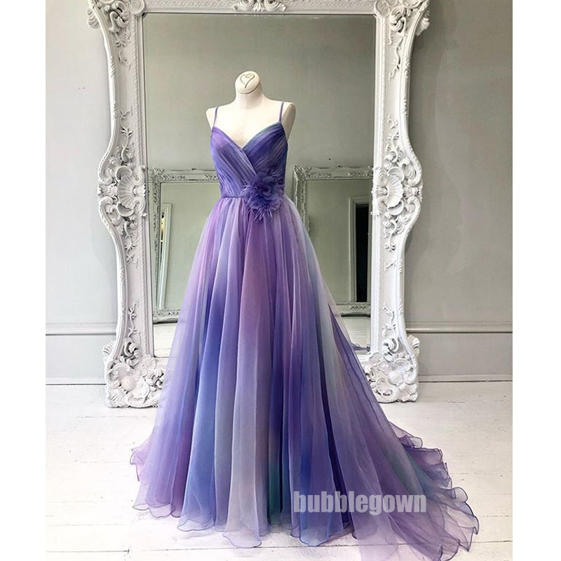 Gradient Spaghetti Strap Formal A Line Long Prom Dresses, WP027