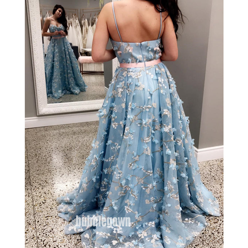 Spaghetti Strap Blue Sweetheart A Line Long Prom Dresses WP038
