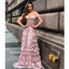Off the Shoulder Applique Lace A Line Long Prom Dresses WP037