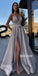 A-line Spaghetti Strap Side Slit Long Bridesmaid Prom Dresses GDW110