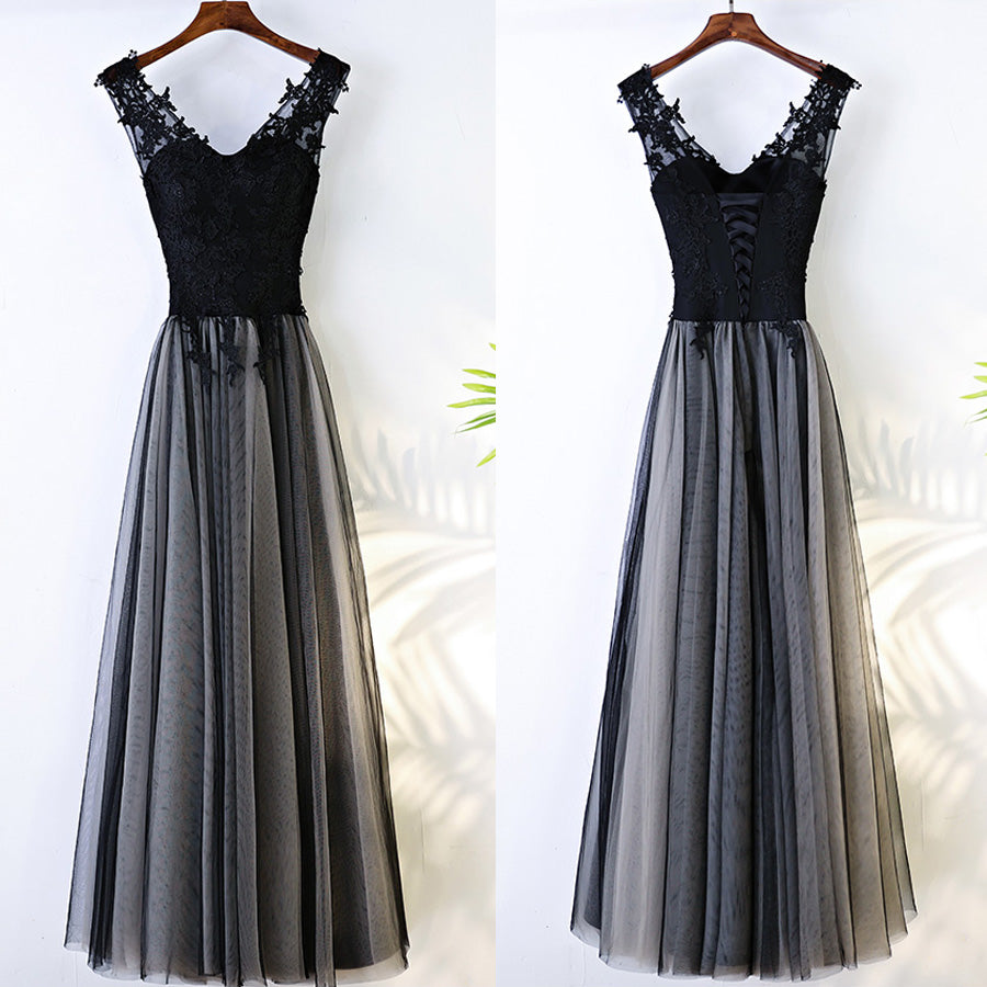 Black V Neck Formal Tulle Applique Lace Up Back Long Prom Dresses, BGP020