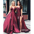 Simple A Line Formal Satin Long Bridesmaid Prom Dresses WP036