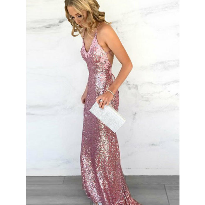 Most Popular Open Back Sequin Mermaid Simple Cheap Long Prom Dresses, BGP207