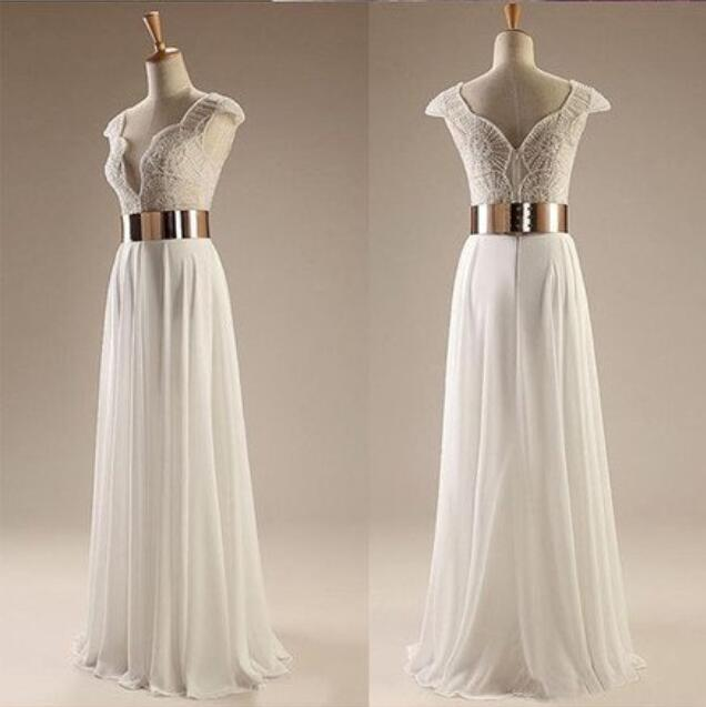 Cap Sleeves White Beading Long Side Slit Party Evening Prom Dresses, BG51239