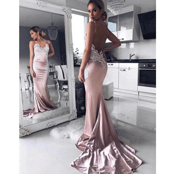 Most Popular Sexy Mermaid Open Back Cheap Long Prom Dresses, BGP218