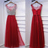 Red Tulle Formal Beaded Top Tie Up Back Cheap Long Prom Dresses, BGP009
