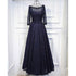 Navy Blue Long Sleeves Lace Up Back Formal Cheap Long Prom Dresses, BGP007