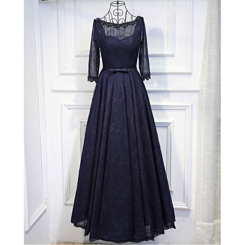 Navy Blue Long Sleeves Lace Up Back Formal Cheap Long Prom Dresses