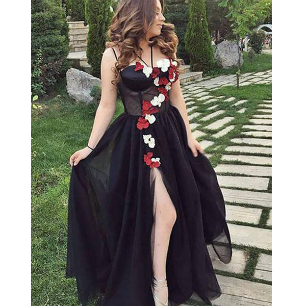 Spaghetti Strap Halter Side Slit Black Long Prom Dresses with Flowers, BGP222
