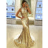 Sparkle Sequin Mermaid Gold Cheap Online Long Prom Dress, BG51497