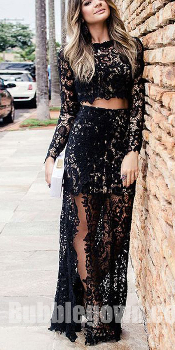 Black Lace Long Sleeves Two Pieces Side Split Sexy Long Prom Dress, BGP058