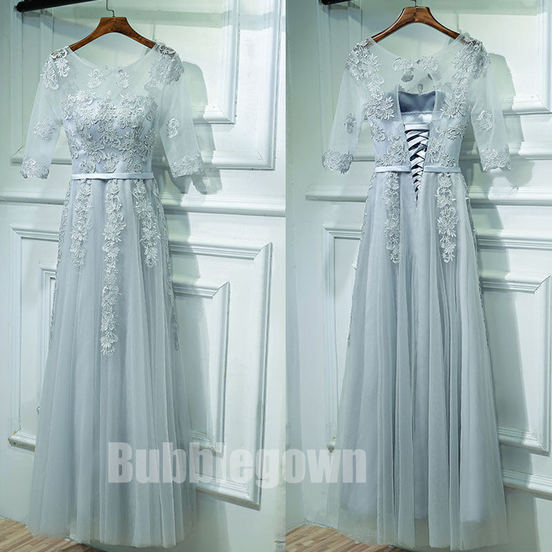 Half Sleeves Formal Tulle Applique Popular Long Prom Dresses, BGP015