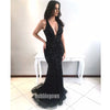 Black Mermaid Open Back Sexy Sparkly Beaded Long Evening Prom Dress, BGP046