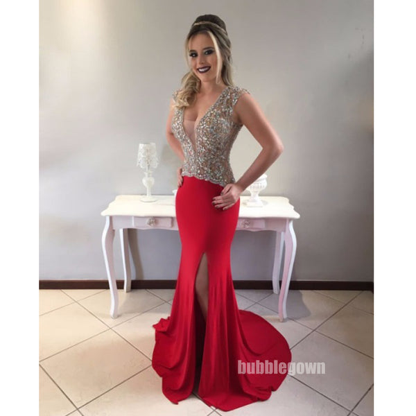 Red Side Split Beaded Top Mermaid Sexy Long Evening Prom Dress, BGP052