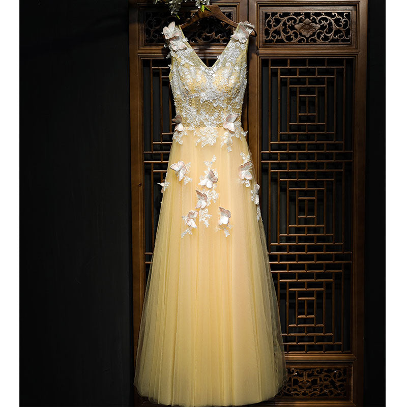 V Neck Yellow Lace Up Back Applique Formal Popular Long Prom Dresses, BGP014