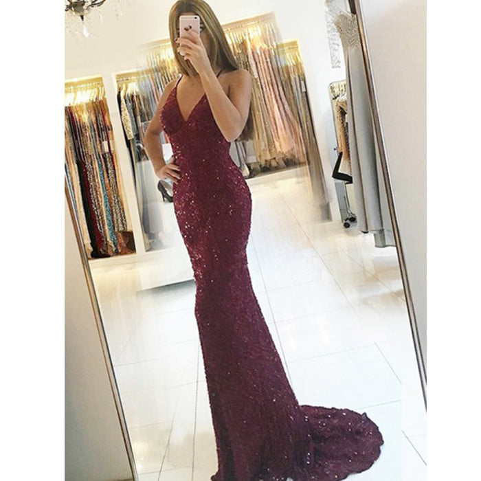 Cheap Open Back Mermaid Sequin Spaghetti Strap Long Prom Dresses, BGP204 - Bubble Gown