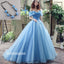 Popular Off the Shoulder Blue Lace Up Back Long Prom Dress Ball Gown BGP080