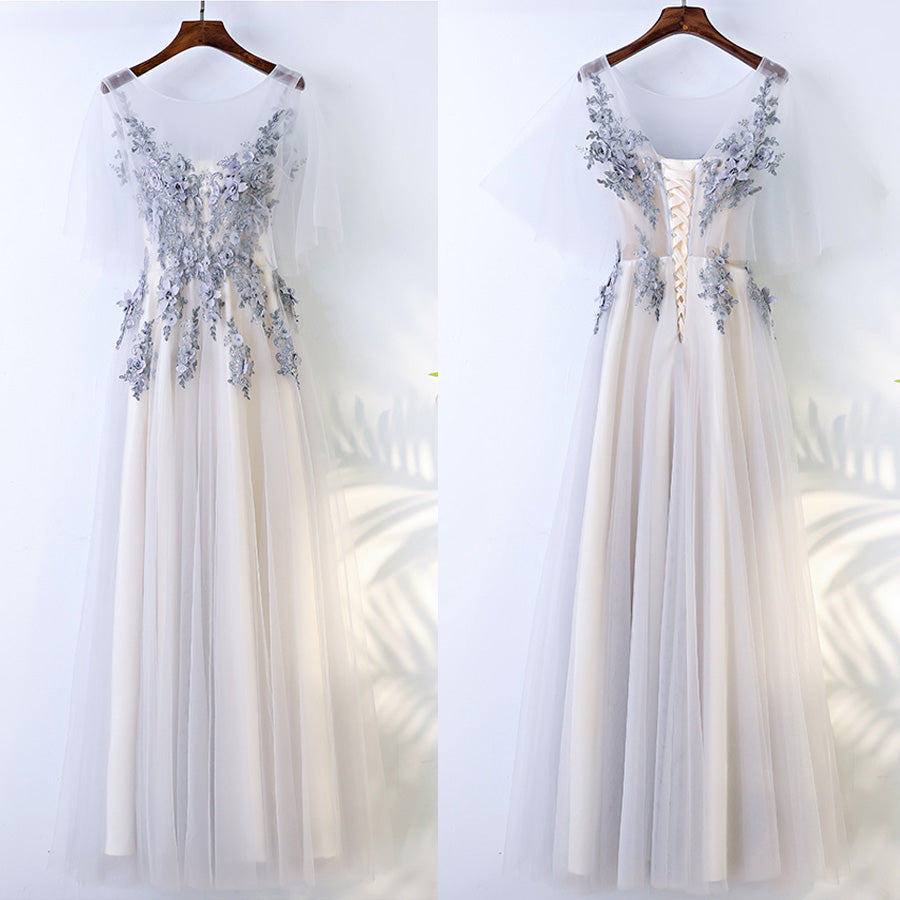 Beautiful Half Sleeves Tulle Applique Elegant Cheap Long Prom Dresses, BGP022