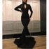 Black Long Sleeves High Neck Mermaid Long Prom Dresses, WP029