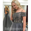 Grey Off the Shoulder Beaded Top Tulle Charming Long Evening Prom Dress, BGP055