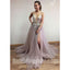 Charming V Neck Side Split Tulle V Back Affordable Long Prom Dress, BGP064