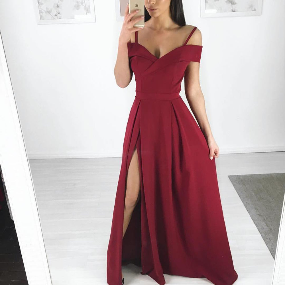 Simple Cheap Side Slit Popular Long Prom Dresses, BGP224