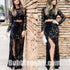 Black Lace Long Sleeves Two Pieces Side Split Sexy Long Prom Dress, BGP058 - Bubble Gown