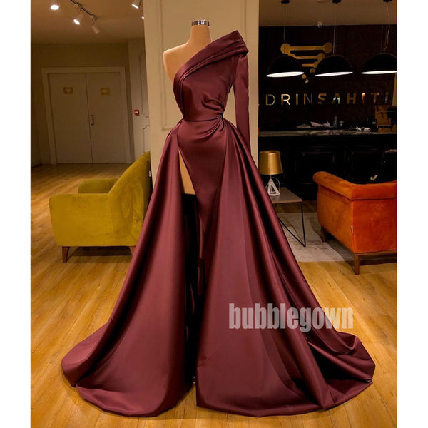 One Shoulder Long Sleeve Side Split Long Prom Dresses FP1166