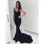 Black Spaghetti Strap Mermaid Simple Cheap Long Prom Dresses, BGP208