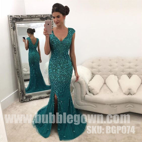 Luxurious Heavy Beaded Sparkle Side Split Mermaid Evening Long Prom Dress, BGP074
