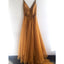 Spaghetti Strap A Line V Neck Formal Cheap Long Prom Dresses, WP002