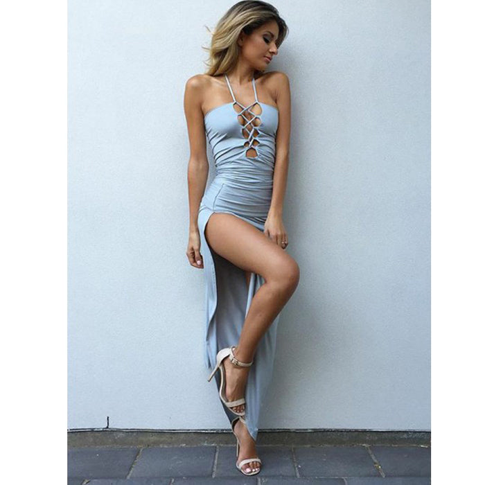 Popular Blue Sexy Side Slit Simple Cheap Long Prom Dresses, BGP209