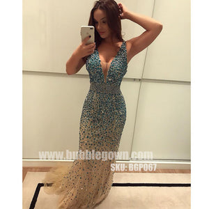 V Neck Sexy Mermaid Heavy Beaded Sparkle Long Evening Prom Dress, BGP067