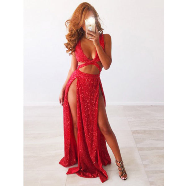 3a150a5d Sexy Red Sequin Split Shinning Simple Cheap Long Prom Dresses, BGP205 |  Bubble Gown