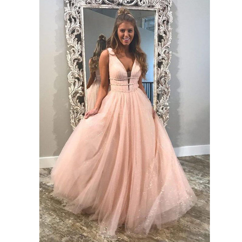 Popular V Neck Blush Pink Charming Long Elegant Formal Prom Dress, BG51487