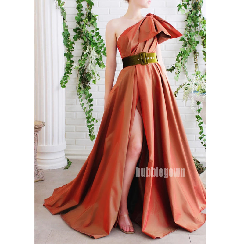 A-line Side Split One Shoulder Long Prom Dresses FP1135