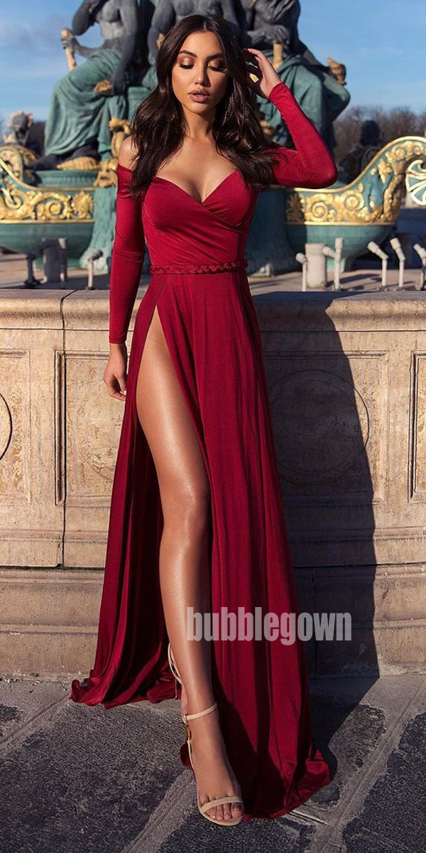 Off the Shoulder Long Sleeves Side Split Long Prom Dresses FP1149