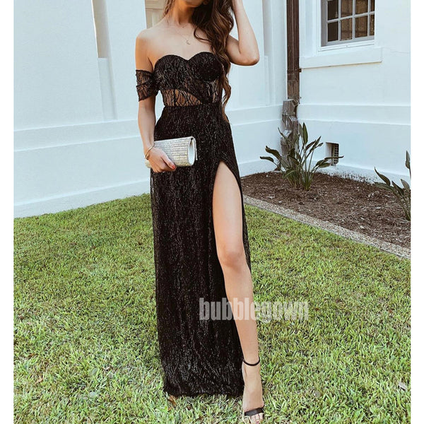 Black Sweetheart Side Split Long Prom Dresses FP1150