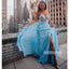 A-line Blue Side Split Beaded Long Prom Dresses FP1153
