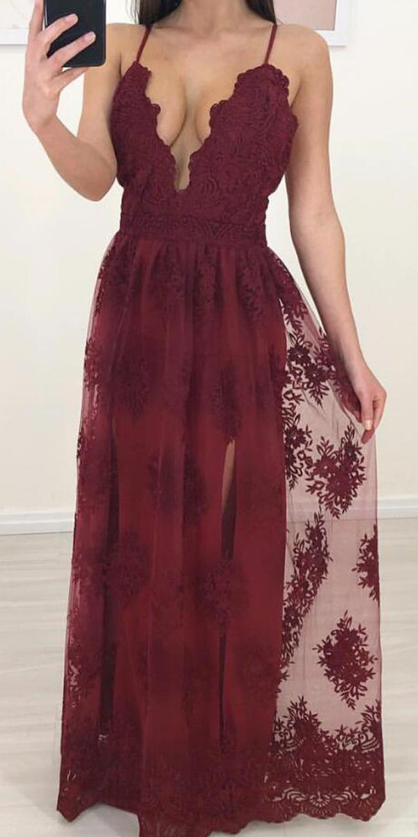 Spaghetti Strap Lace Formal Cheap Long Prom Dresses, WP001