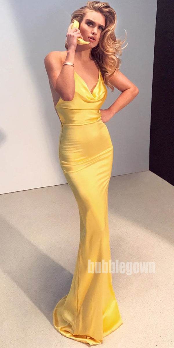 Yellow Simple Elegant Mermaid Long Prom Dresses FP1154