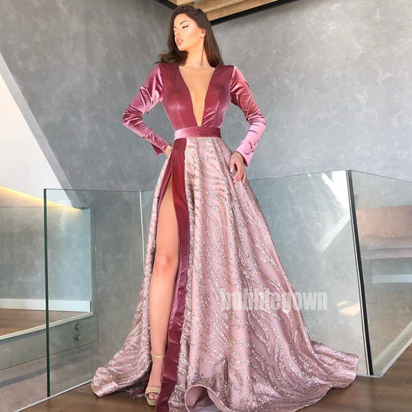 Long Sleeves V-neck Side Slit Long Prom Dresses FP1157