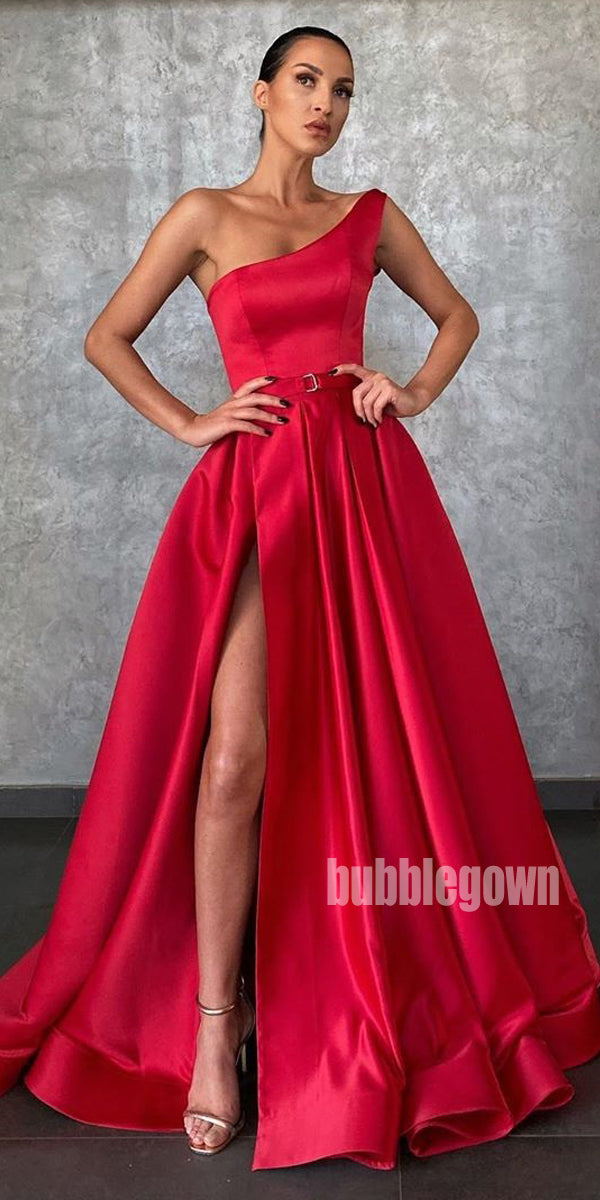 One Shoulder Side Split A-line Long Prom Dresses FP1159