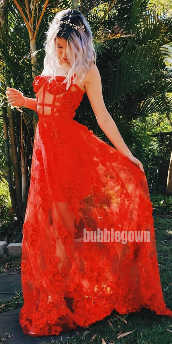 Red A-line See-through Tulle Long Prom Dresses FP1147