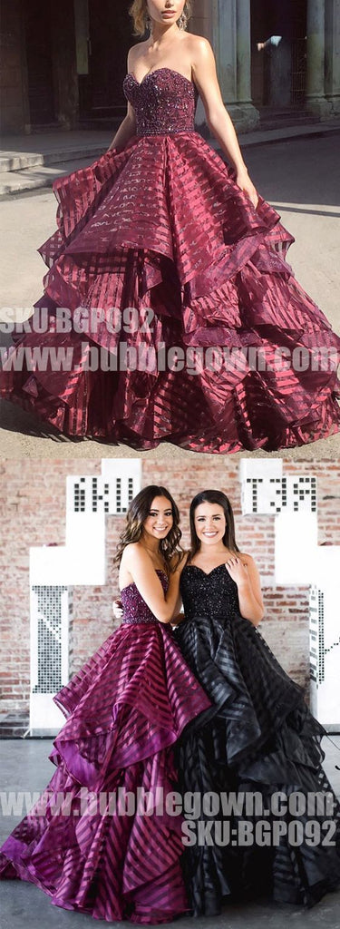 Elegant Sweetheart Black Formal Inexpensive Popular Long Prom Dresses, BGP092 - Bubble Gown
