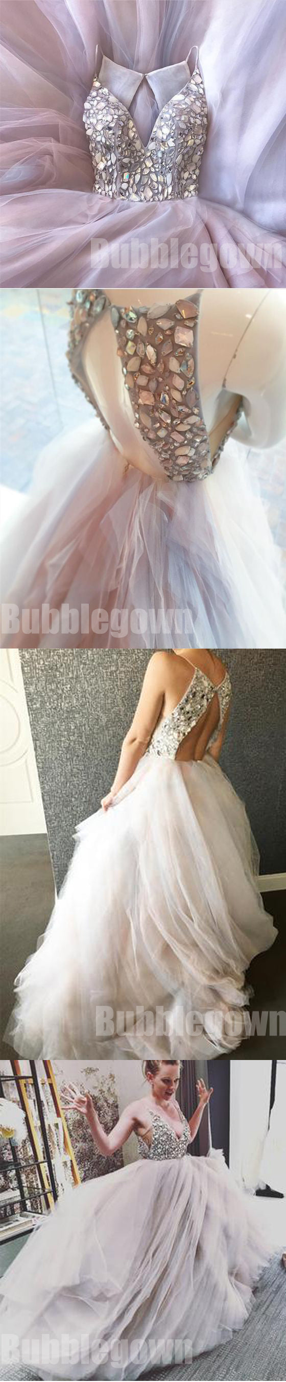 Beaded Top Open Back Charming Popular Cheap Long Evening Prom Dresses, BGP028 - Bubble Gown