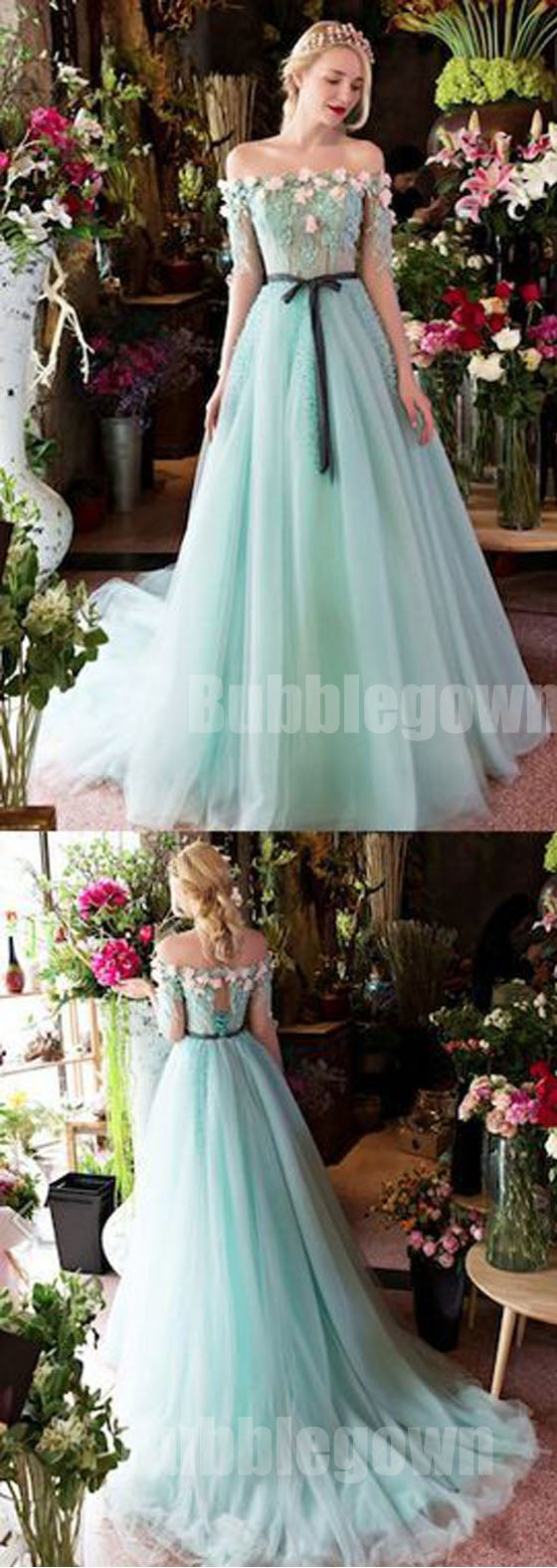 Off the Shoulder Charming Half Sleeves Long Evening Prom Dresses ...